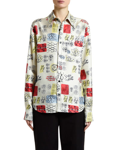 Floral Sketch Print Button-Front Shirt