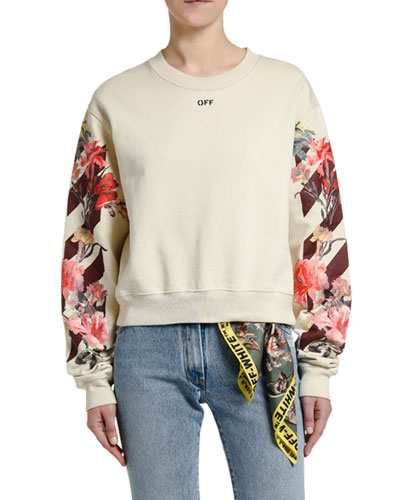 Floral-Sleeve Crop Sweatshirt