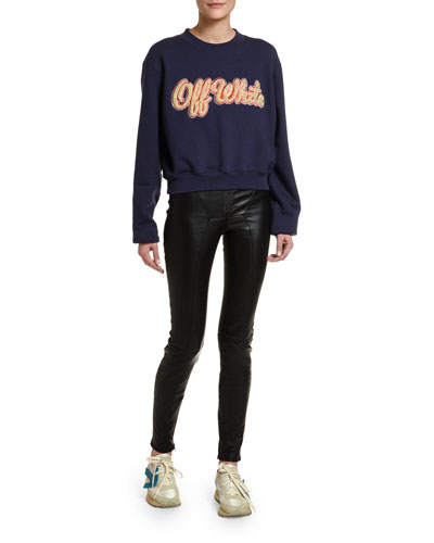 Shearling-Embroidered Collegiate Sweatshirt