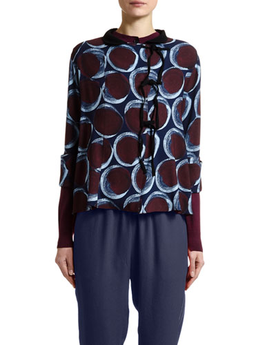 Circle-Print Tie-Neck Blouse