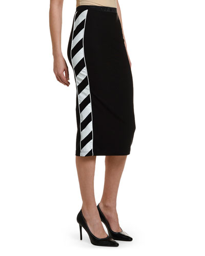 Diagonal-Striped Athletic Midi Skirt