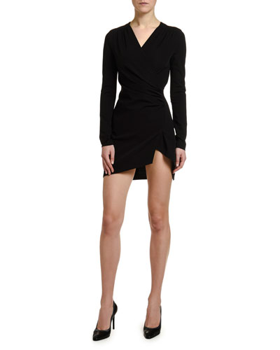Long-Sleeve Faux-Wrap Mini Dress