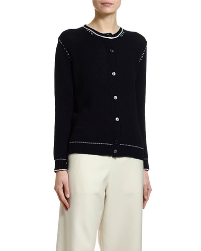 Crewneck Button-Front Cardigan