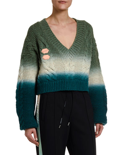 Wool-Cashmere Tie-Dye V-Neck Sweater