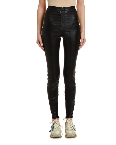 Stretch Leather Zip-Front Leggings