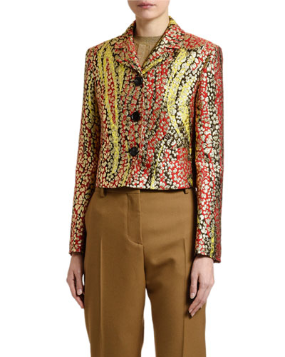 Floral Brocade Button-Front Jacket