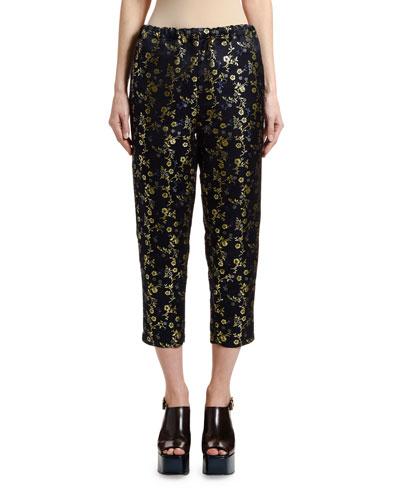 Floral Brocade Cropped Pajama Pants