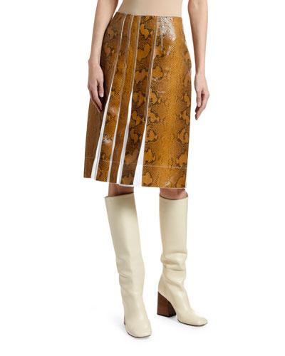 Pleated Python-Print Leather Skirt