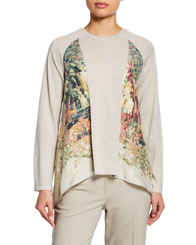Lightweight Castle-Print Silk Paneled Sweater