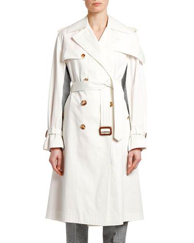 Checked-Back Gabardine Trench Coat