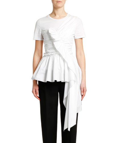 Ruffled Front Draped Cotton Jersey T-shirt