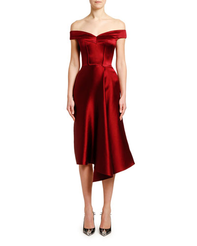 Off-the-Shoulder Draped Duchess Satin Dress