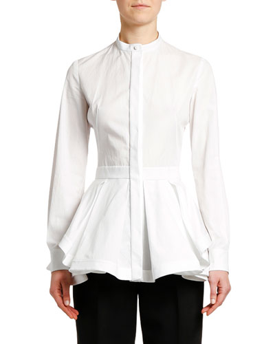 Fit-&-Flare Poplin Button-Front Peplum Blouse