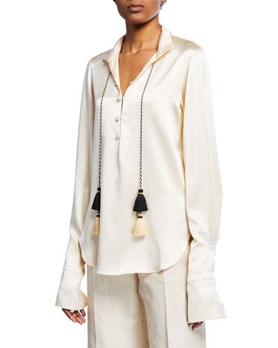 Tasseled Silk Button-Front Shirt