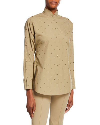 Studded Cotton Poplin Blouse