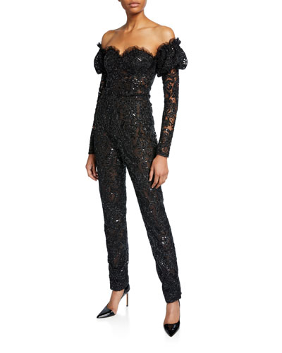 Off-the-Shoulder Puff-Sleeve Lace Jumpsuit