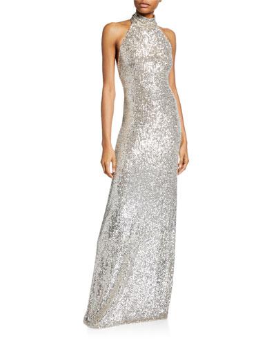 Halter-Neck Sparkle Gown