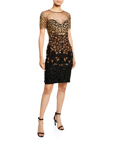 Shattered Sequined Ombre Illusion Dress