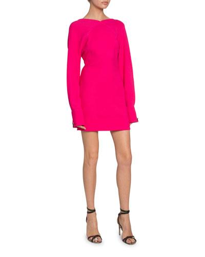 Open-Back Irregular Crepe Dress