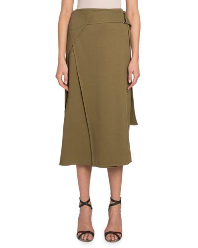 Belted Fluid Midi Skirt