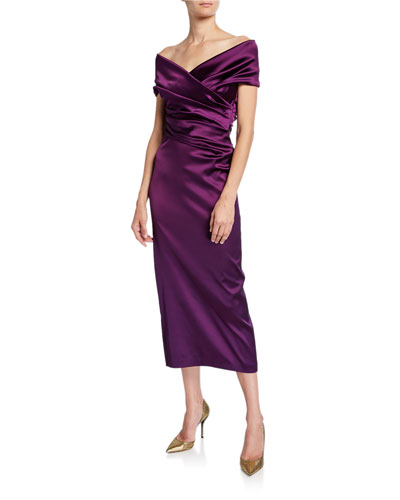 Off-the-Shoulder Ruched Satin Dress