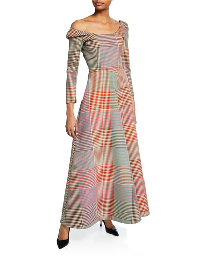 Convertible Off-The-Shoulder Checked Maxi Dress