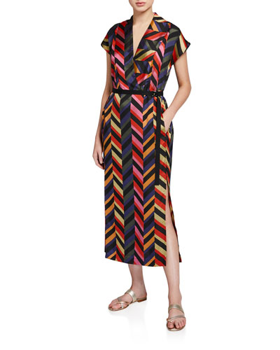 Leah Chevron Striped Belted Dress