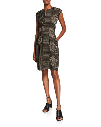 Miss Floral & Stripe Jacquard Dress