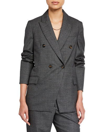 Houndstooth Double-Breasted Jacket