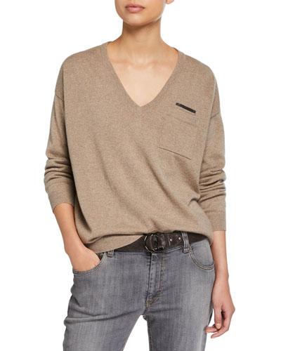 e03000a11932cb V-Neck Long-Sleeve Cashmere Sweater w/ Monili Trim
