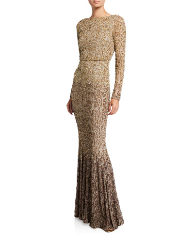 Ombre Beaded Long-Sleeve Gown