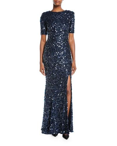 Sequin Paillettes Short-Sleeve Gown