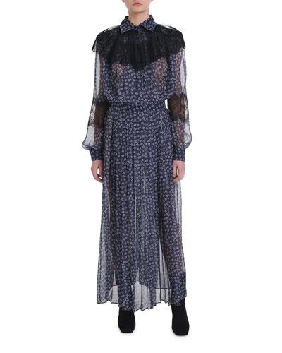 Lace-Trim Floral Print Chiffon Dress