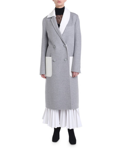 Fur-Lapel Double-Breasted Cashmere Coat