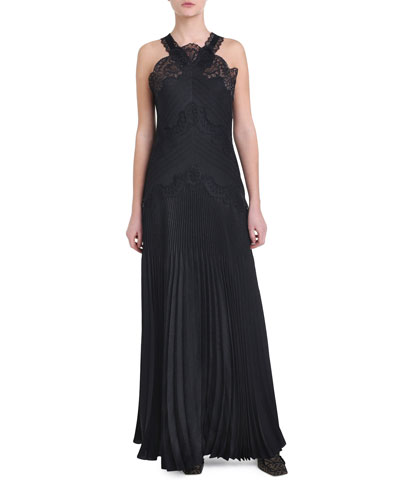 Lace Pleated Halter-Neck Gown
