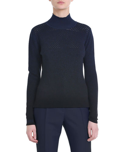 Perforated Wool-Cashmere Turtleneck Sweater