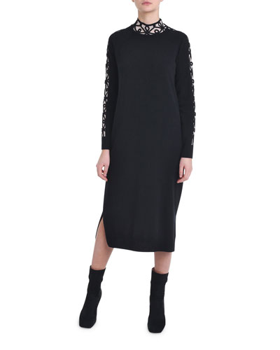Cashmere Embroidered-Trim Sweater Dress
