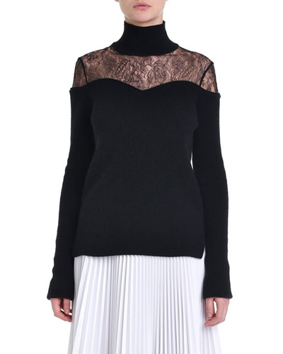 Lace-Yoke Turtleneck Sweater