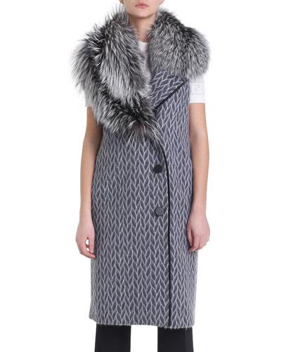 Fur-Collar Printed Wool Vest