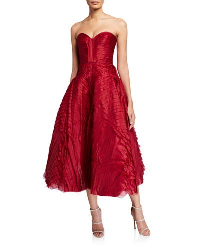 Pleated Satin Strapless Tea-Length Dress