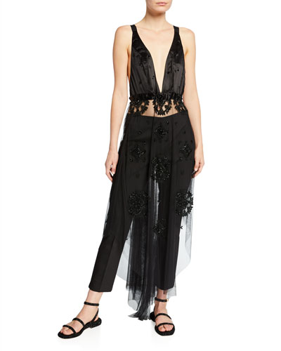 Eliana Beaded Sheer Overlay Dress