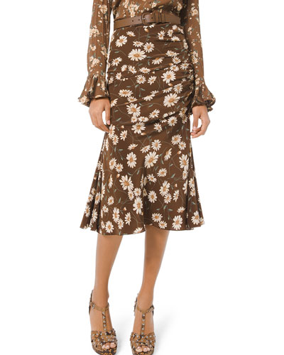 Floral-Print Ruched Silk Skirt