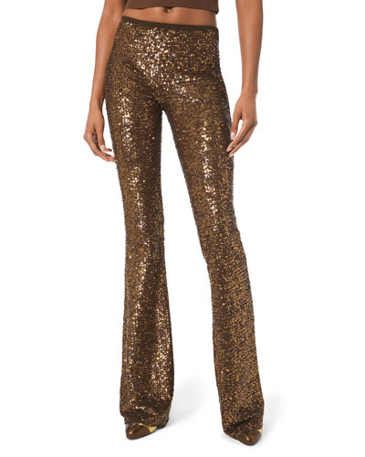 Sequined Flare-Leg Pants