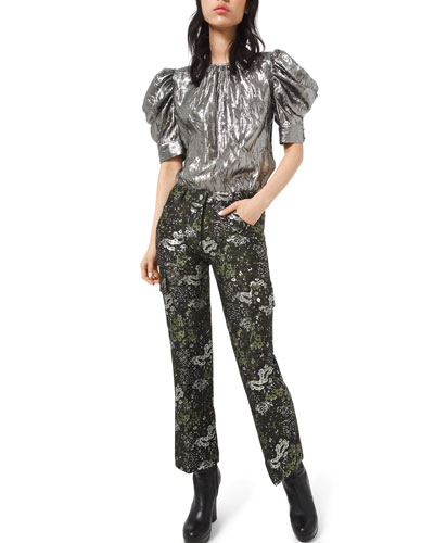 Floral-Brocade Cargo Flare Pants