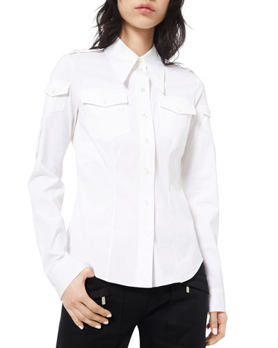 Military-Style Poplin Shirt