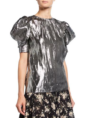 Draped Metallic Puff-Sleeve Blouse