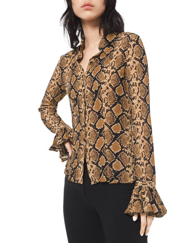 Python-Print Crushed Bell-Sleeve Shirt