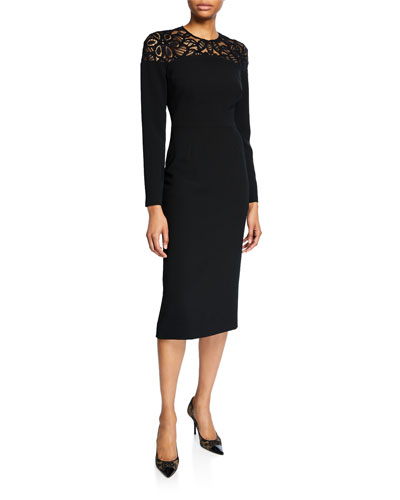 Corded Lace-Yoke Sheath Dress