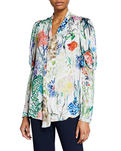 Wild Flower Georgette Ruched-Sleeve Blouse