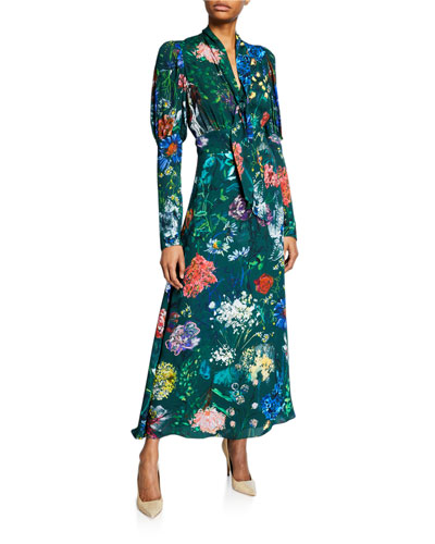 Wildflower Ruched-Sleeve Bow-Neck Dress